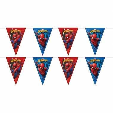 2x marvel spiderman feestartikelen vlaggenlijnen 230 cm plastic