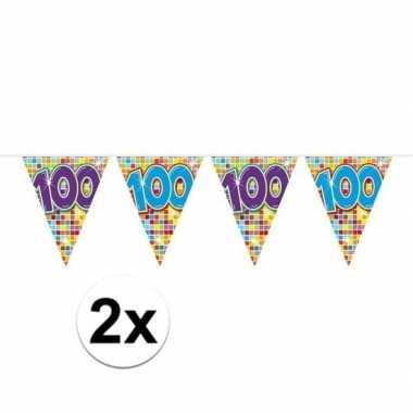2x mini vlaggenlijn feestversiering met leeftijd 100