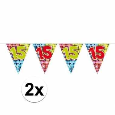 2x mini vlaggenlijn feestversiering met leeftijd 15