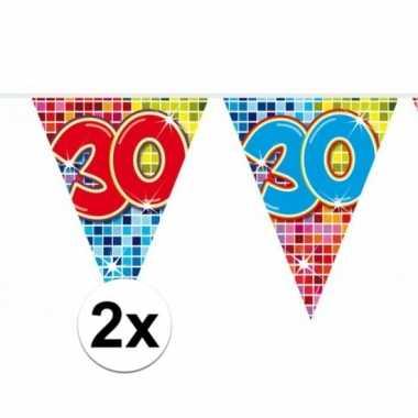 2x mini vlaggenlijn feestversiering met leeftijd 30
