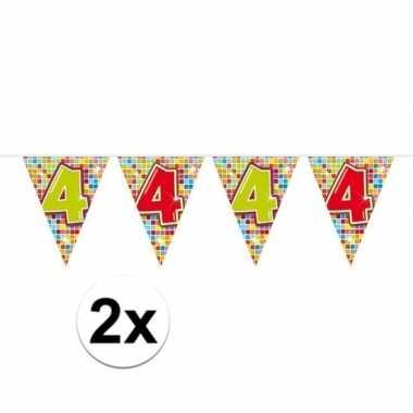 2x mini vlaggenlijn feestversiering met leeftijd 4