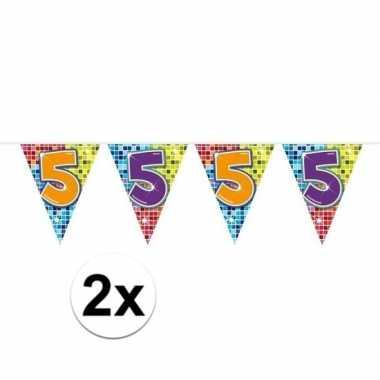 2x mini vlaggenlijn feestversiering met leeftijd 5
