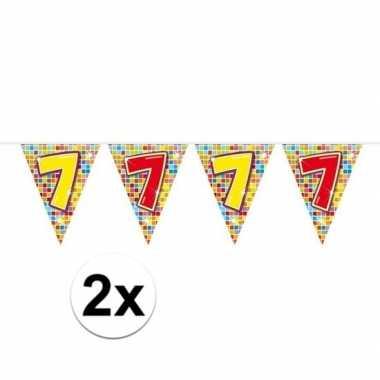 2x mini vlaggenlijn feestversiering met leeftijd 7