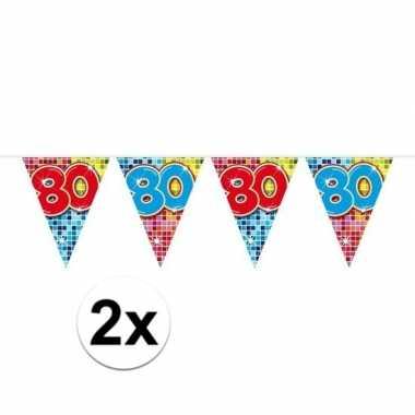 2x mini vlaggenlijn feestversiering met leeftijd 80