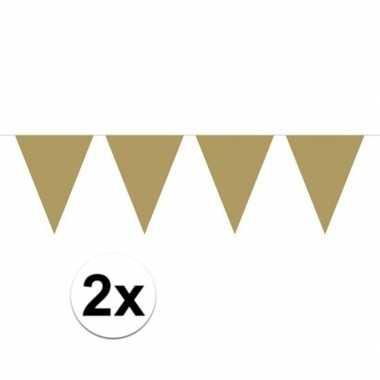 2x mini vlaggenlijn versiering goud 300 cm