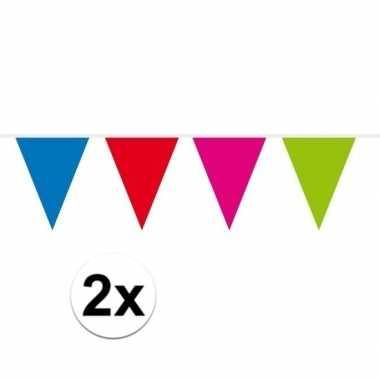 2x mini vlaggenlijn versiering multi colour 300 cm