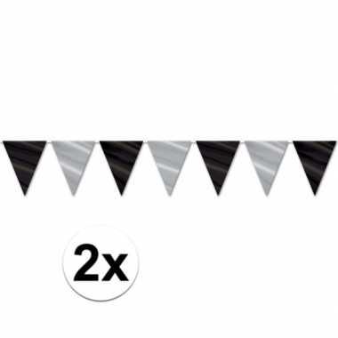 2x oud en nieuw nieuwjaar thema vlaggenlijn zwart zilver