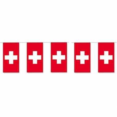 2x papieren vlaggenlijnen zwitserland
