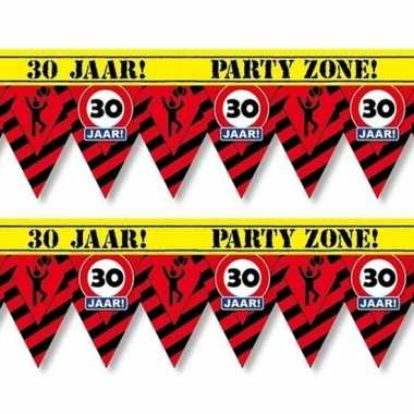 2x plastic markeerlinten vlaggetjes 30 jaar 12 meter feestartikelen