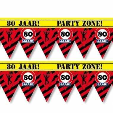 2x plastic markeerlinten vlaggetjes 80 jaar 12 meter feestartikelen
