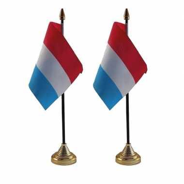 2x polyester nederlandse vlag en standaard voor op bureau 10 x 15 cm