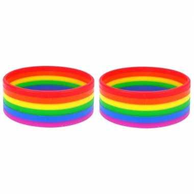 2x regenboogvlag kleuren armbandje 20 cm