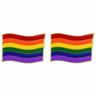 2x regenboogvlag kleuren metalen pin/button 4 cm