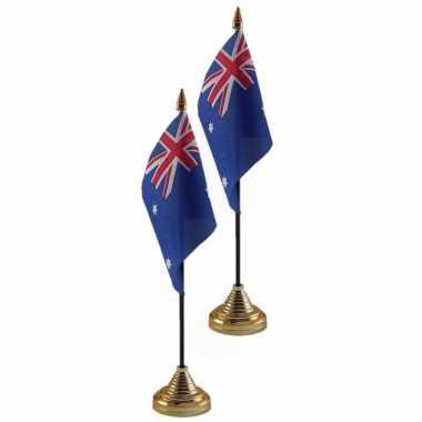 2x stuks australie tafelvlaggetje 10 x 15 cm met standaard