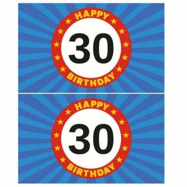 2x stuks happy birthday 30 jaar versiering vlag 150 x 90 cm