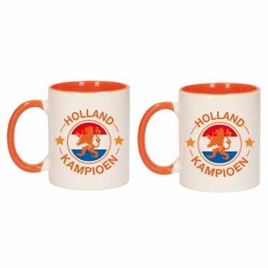 2x stuks holland kampioen leeuw mok/ beker oranje wit 300 ml