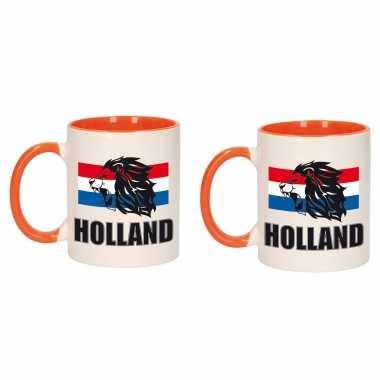 2x stuks holland leeuw silhouette mok/ beker oranje wit 300 ml