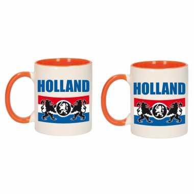 2x stuks holland met vlag en leeuw mok/ beker oranje wit 300 ml