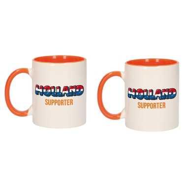 2x stuks holland supporter popart mok/ beker oranje wit 300 ml