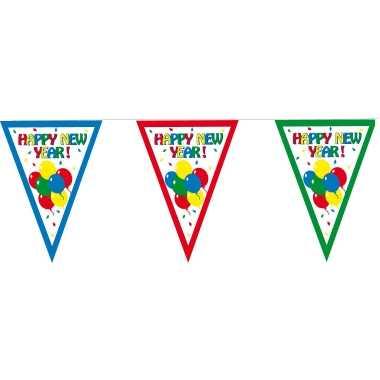 2x stuks vlaggenlijnen / slinger happy new year 300 cm