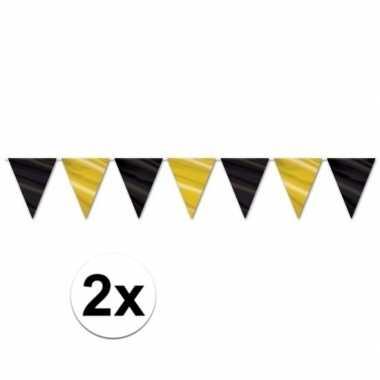 2x zwart met gouden slingers 360 cm