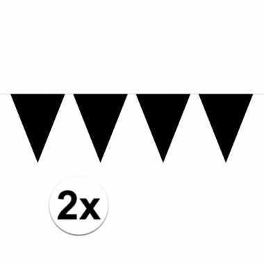 2x zwarte mini vlaggenlijn feestversiering