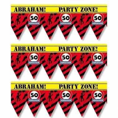 3 plastic markeerlinten vlaggetjes 50 abraham 12 meter feestartikelen