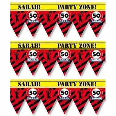 3 plastic markeerlinten vlaggetjes 50 sarah 12 meter feestartikelen