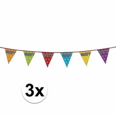 3 stuks holografische vlaggetjes party 8 meter