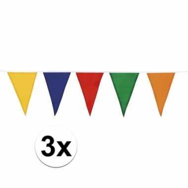 3 stuks vlaggenlijn katoen meerdere kleuren