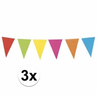 3 stuks vlaggetjes lijn in vrolijke kleuren 10 meter