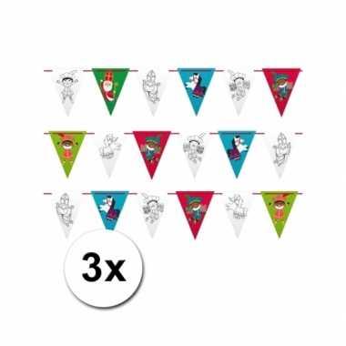 3 voordelige sinterklaas vlaggetjes slingers 6 m