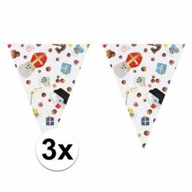 3 x feest 5 december vlaggenlijn 10 m snoepgoed sint/piet