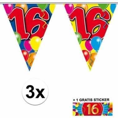 3 x leeftijd slinger 16 jaar met sticker