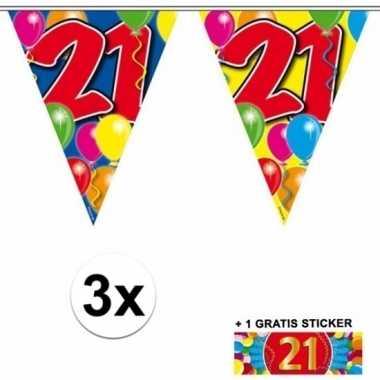 3 x leeftijd slinger 21 jaar met sticker