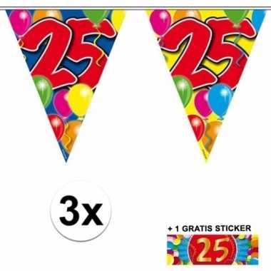 3 x leeftijd slinger 25 jaar met sticker