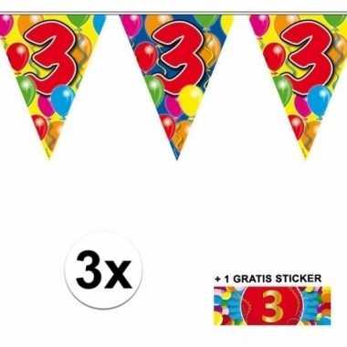 3 x leeftijd slinger 3 jaar met sticker
