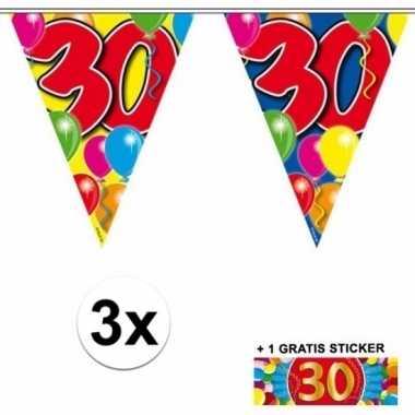 3 x leeftijd slinger 30 jaar met sticker