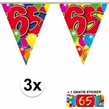 3 x leeftijd slinger 65 jaar met sticker