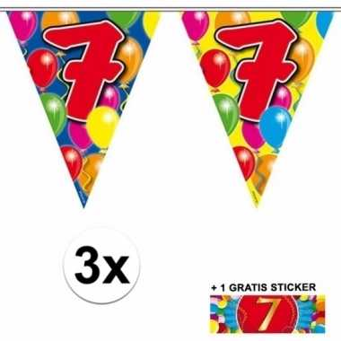 3 x leeftijd slinger 7 jaar met sticker