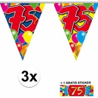 3 x leeftijd slinger 75 jaar met sticker