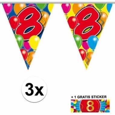 3 x leeftijd slinger 8 jaar met sticker