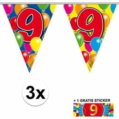 3 x leeftijd slinger 9 jaar met sticker