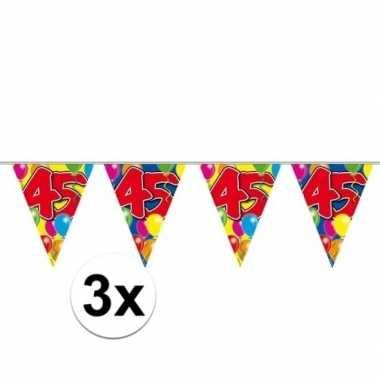 3x 45e verjaardag slingers / vlaggenlijnen 10m