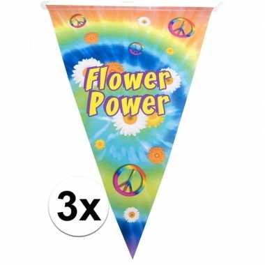 3x 60s/70s hippiefeest puntvlaggetjes/vlaggenlijnen 5 meter
