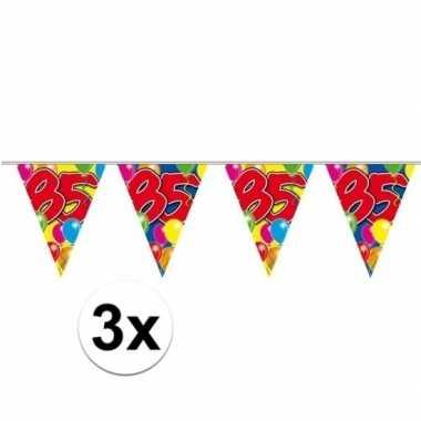 3x 85e verjaardag slingers / vlaggenlijnen 10m