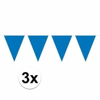 3x blauw mini vlaggenlijn feestversiering