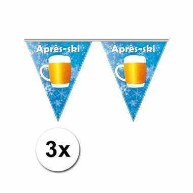 3x blauwe apres ski vlaggenlijn 5 m