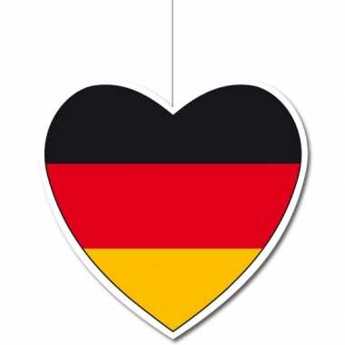 3x decoratie harten vlag duitsland 14 cm
