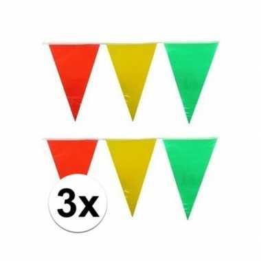 3x decoratie vlaggenlijn geel/rood/groen 10 meter